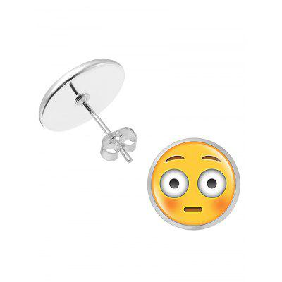 Cute Round Emoji Face Tiny Stud Earrings
