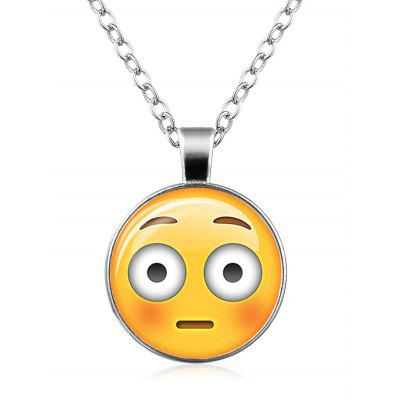 Funny Emoji Face Round Pendant Necklace