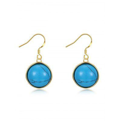 Simulated Turquoise Round Hook Drop Earrings