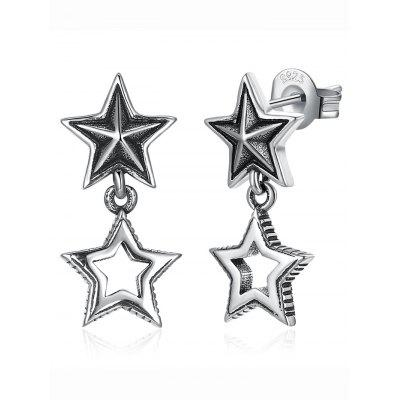 Sterling Silver Double Star Stud Drop Earrings