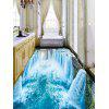 3D Waterfall Print PVC Removable Floor Wall Stickers - LAKE BLUE