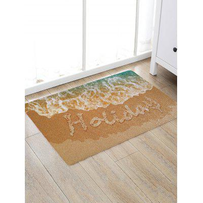 Beach Sea Waves Holiday Letter Print Floor Rug