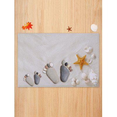 Beach Stone Footprint Starfish Print Floor RugBlankets &amp; Throws<br>Beach Stone Footprint Starfish Print Floor Rug<br><br>Materials: Coral FLeece<br>Package Contents: 1 x Rug<br>Pattern: Print<br>Products Type: Bath rugs<br>Style: Beach Style