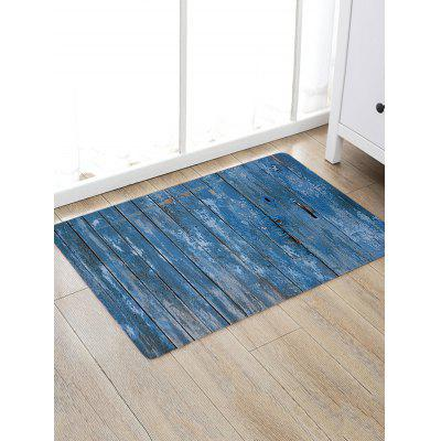 Blue Wood Grain Print Antiskid Floor Rug
