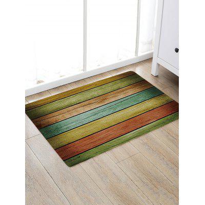 Colorful Wood Plank Print Non-skip Indoor Outdoor Area Rug