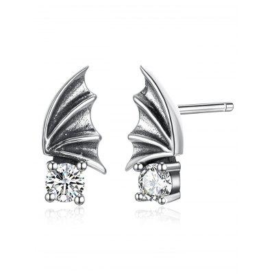 Rhinestone Bat Wing Sterling Silver Stud Earrings