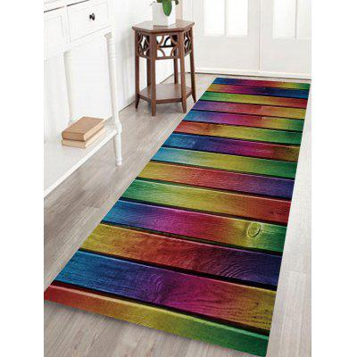 Rainbow Wood Board Print Non-skip Floor Area Rug