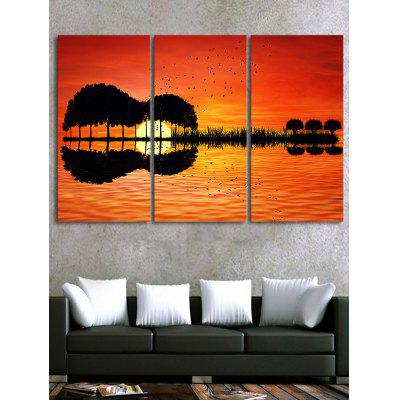 Sunset Lake Print Unframed Canvas Art Paintings