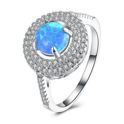 Artificial Opal Rhinestone Circle Finger Ring