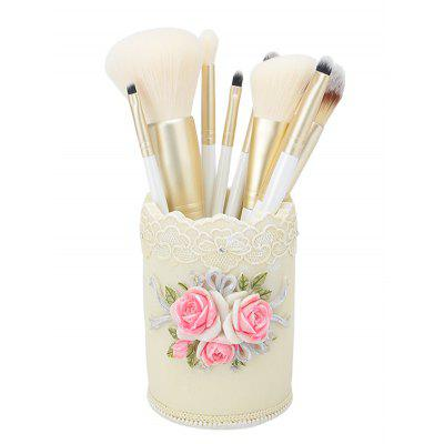 9Pcs Makeup Brushes Set with Flower Flax Brush Holder