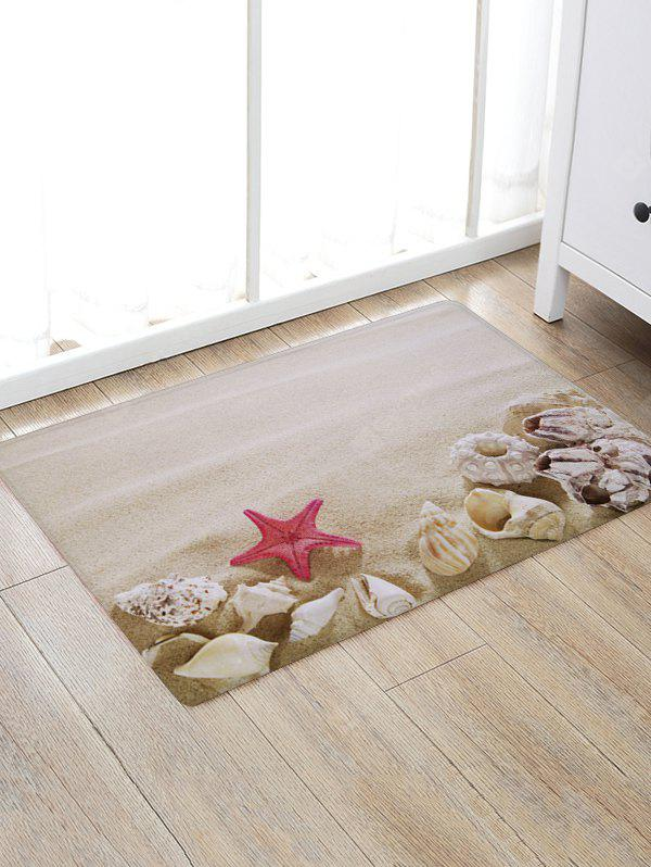 Beach Starfish Conchs Print Floor Rug