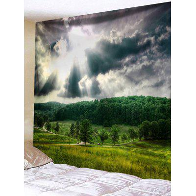 Sun Ray Forest Road Print Wall Hanging Tapestry