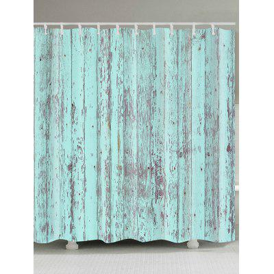 Retro Wood Board Print Waterproof Bath Curtain