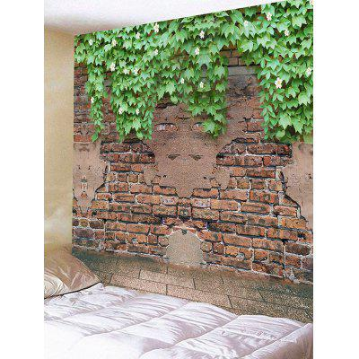 Bricks Wall Leaves Print Tapestry