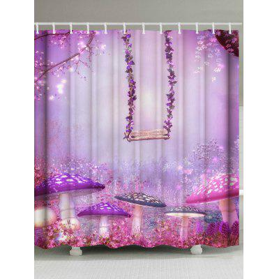 Waterproof Forest Swing Mushroom Print Shower Curtain