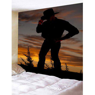 Sunset West Cowboy Standing Print Tapestry