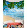 Coconut Plam Seabeach Printed Wall Tapestry - BLUE AND GREEN