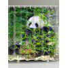 Panda and Bamboo Print Showerproof Bath Curtain - TURQUOISE