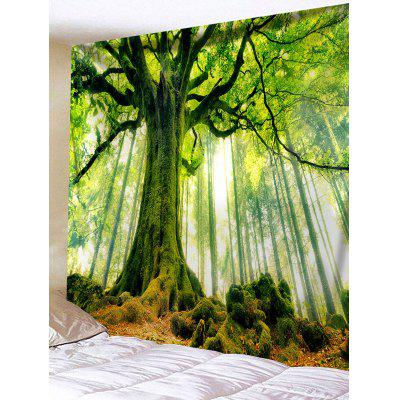Buy Big Tree Print Tapestry Wall Hanging Decor GREEN for $15.21 in GearBest store