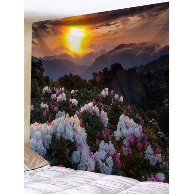 Flower Mountain Sunrise Print Wall Hanging Tapestry