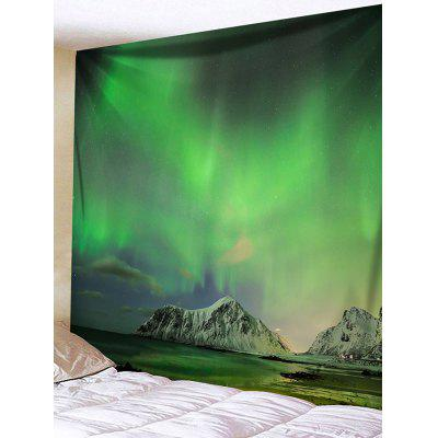 Northern Lights Mountain Print Tapestry Wall Hanging Decor