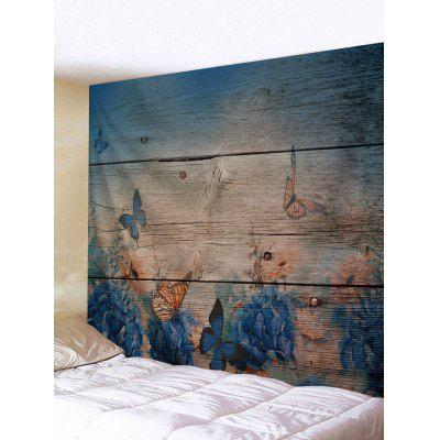Butterfly Wood Grain Print Tapestry Muur opknoping Decor