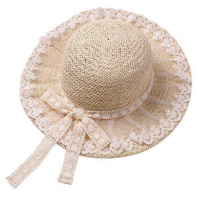 Lace Bowknot Straw Hat