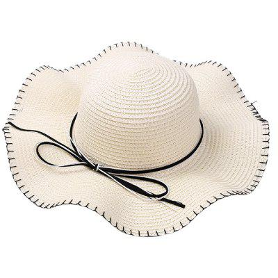 Bowknot Lace Up Straw Hat