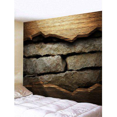 Yellow Wood Stone Bricks Print Tapestry
