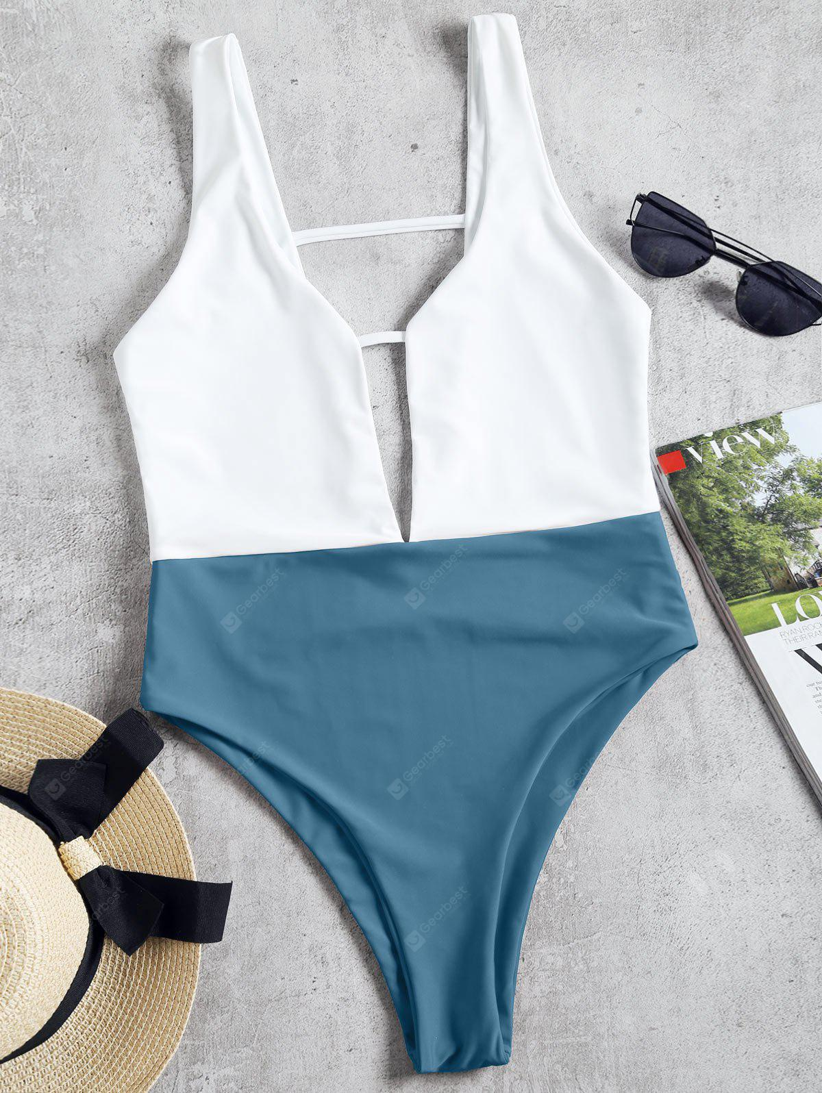Two Tone High Cut One Piece Swimwear