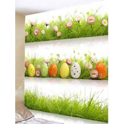 Three Layers Grasslands with Eggs Flowers Print Tapestry