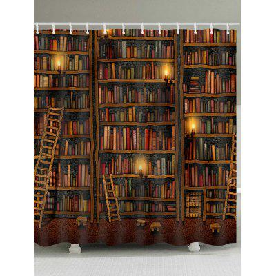 Cartoon Bookshelves Print Waterproof Bath Curtain