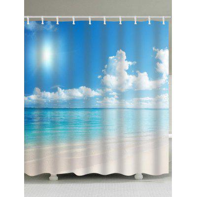 Fine Day Beach Print Waterproof Bath Curtain