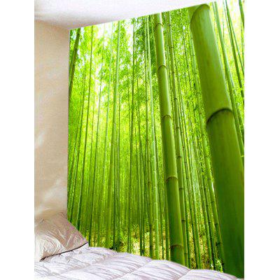 Green Bamboo Forest View Print Tapestry