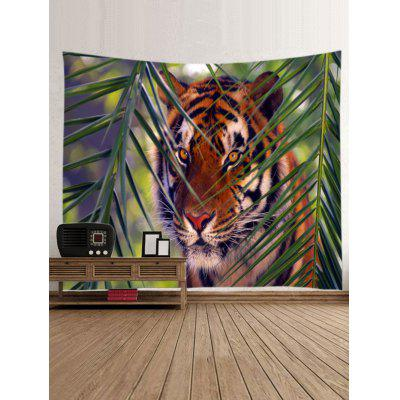 Tiger Glaring Face Back Leaves Print TapestryBlankets &amp; Throws<br>Tiger Glaring Face Back Leaves Print Tapestry<br><br>Material: Polyester<br>Package Contents: 1 x Tapestry<br>Shape/Pattern: Fish,Mountain<br>Style: Natural<br>Theme: Animals<br>Weight: 0.4000kg