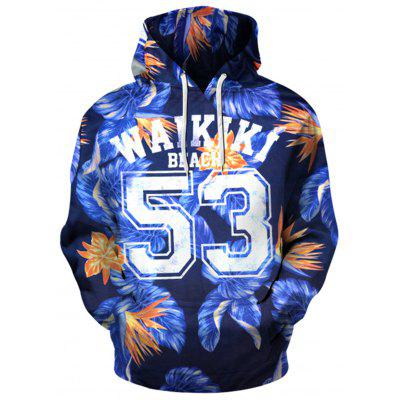 Hooded 3D Flowers and Graphic Print Hoodie