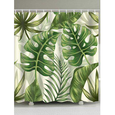Buy Tropical Leaves Print Shower Curtain GREEN for $19.37 in GearBest store
