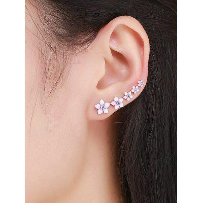 Sterling Silver Rhinestone Flower Ear Cuffs
