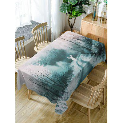 Forest Deer Print Fabric Waterproof Table Cloth