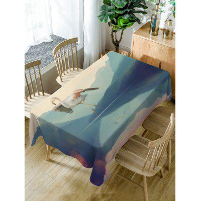 Flamingo Mountains Print Fabric Waterproof Table Cloth