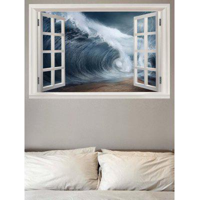 Huge Waves outside the Window Printed Wall Sticker
