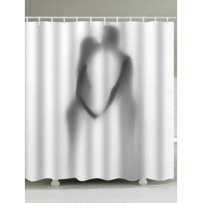 Lover Kissing Silhouette Print Shower Curtain
