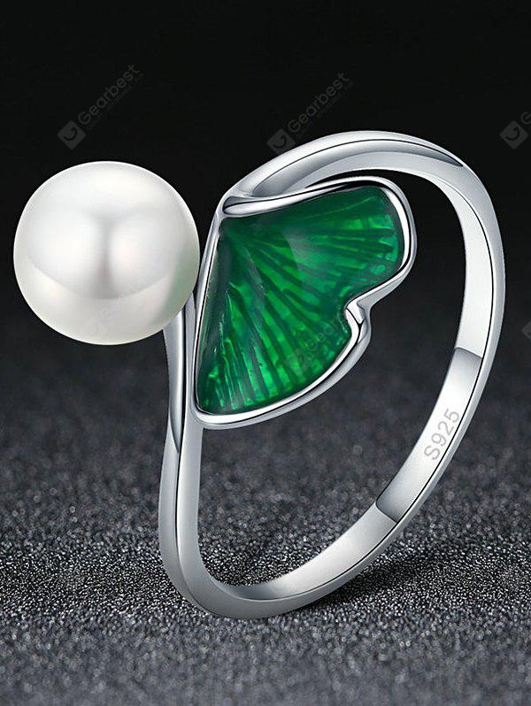 Artificial Pearl Leaf Sterling Silver Ring