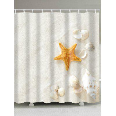 Beach Shells Print Waterproof Bath Curtain