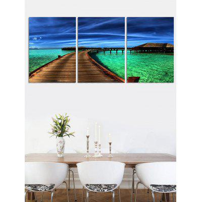 Wood Bridge House Sea Print Split Canvas PaintingsPrints<br>Wood Bridge House Sea Print Split Canvas Paintings<br><br>Features: Decorative<br>Form: Three Panels<br>Frame: No<br>Hang In/Stick On: Bedrooms,Cafes,Hotels,Kitchen,Living Rooms,Lobby,Nurseries,Offices<br>Material: Canvas<br>Package Contents: 3 x Canvas Paintings (Pcs)<br>Product Type: Art Print<br>Style: Fashion