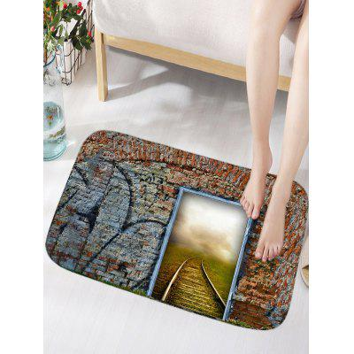 Stone Wall Door Railway Print Floor Rug