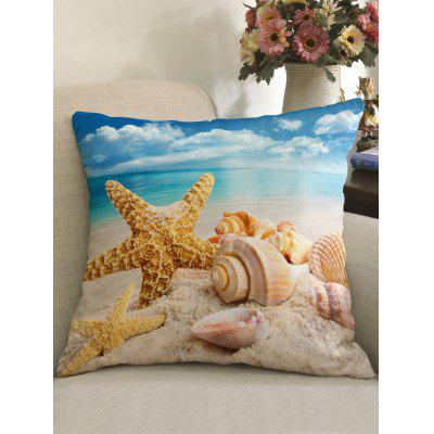 Beach Starfish Shell Print Decorative Pillow Cover