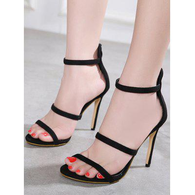 Strappy Stiletto Heel SandalsWomens Sandals<br>Strappy Stiletto Heel Sandals<br><br>Closure Type: Zip<br>Gender: For Women<br>Heel Height: 11CM<br>Heel Height Range: Super High(Above4)<br>Heel Type: Stiletto Heel<br>Occasion: Party<br>Package Contents: 1 x Sandals (pair)<br>Pattern Type: Solid<br>Sandals Style: Ankle Strap<br>Shoe Width: Medium(B/M)<br>Style: Fashion<br>Upper Material: Suede<br>Weight: 1.5000kg