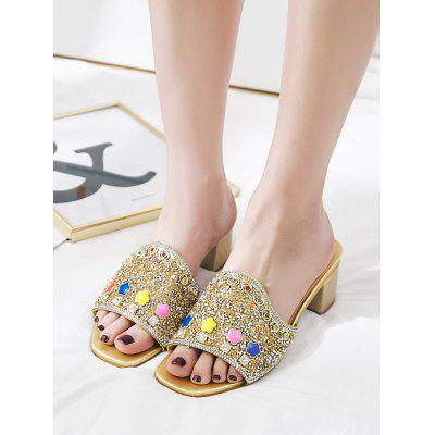 "Glitter Block Heel Mules ShoesSlippers &amp; Flip-Flops<br>Glitter Block Heel Mules Shoes<br><br>Embellishment: Rhinestone<br>Gender: For Women<br>Heel Height: 6CM<br>Heel Height Range: Med(1.75""-2.75"")<br>Heel Type: Chunky Heel<br>Package Contents: 1 x Mules Shoes (pair)<br>Pattern Type: Patchwork<br>Season: Spring/Fall<br>Shoe Width: Medium(B/M)<br>Slipper Type: Outdoor<br>Style: Leisure<br>Upper Material: PU<br>Weight: 1.3800kg"