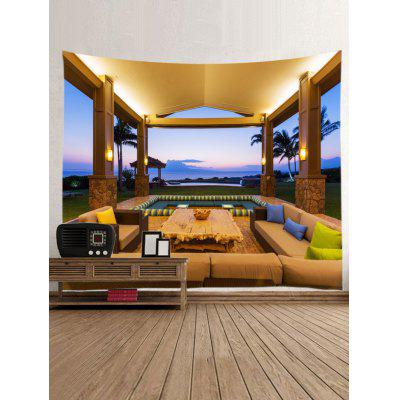 Pavilion Print Tapestry Wall Hanging DecorBlankets &amp; Throws<br>Pavilion Print Tapestry Wall Hanging Decor<br><br>Feature: Removable, Washable<br>Material: Polyester<br>Package Contents: 1 x Tapestry<br>Shape/Pattern: Buildings<br>Style: Casual<br>Weight: 0.3000kg